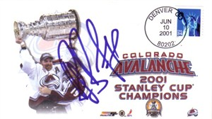 Ray Bourque autographed Colorado Avalanche 2001 Stanley Cup Champions cachet