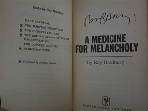 Ray Bradbury autographed A Medicine for Melancholy paperback book