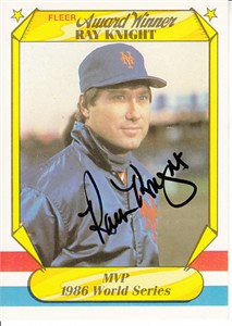 Ray Knight autographed New York Mets 1987 Fleer Award Winner card