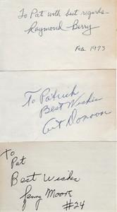 Raymond Berry Art Donovan Lenny Moore autographed 3x5 index cards