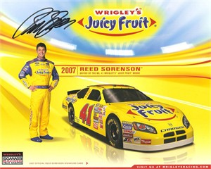 Reed Sorenson autographed 2007 Juicy Fruit 8x10 NASCAR photo card