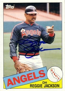 Reggie Jackson autographed Angels 1985 Topps 5x7 jumbo card