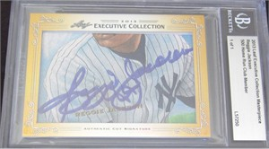 Reggie Jackson & Vida Blue certified autograph 2013 Leaf Executive Masterpiece Dual Cut Signature card #1/1