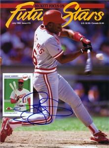Reggie Sanders autographed Cincinnati Reds 1992 Beckett magazine cover