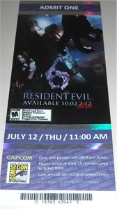 Resident Evil 6 2012 Comic-Con Capcom demo ticket