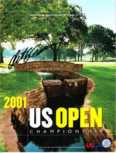 Retief Goosen autographed 2001 U.S. Open golf program