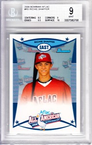 Richie Shaffer 2008 AFLAC Bowman Rookie Card graded BGS 9 (MINT)