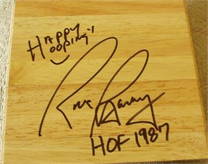 Rick Barry autographed basketball hardwood floor inscribed HOF 1987