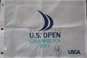 Rickie Fowler autographed 2015 U.S. Open embroidered golf pin flag