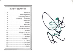 Rickie Fowler autographed Augusta National Masters scorecard
