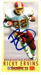 Ricky Ervins autographed Washington Redskins 1993 McDonald's GameDay card