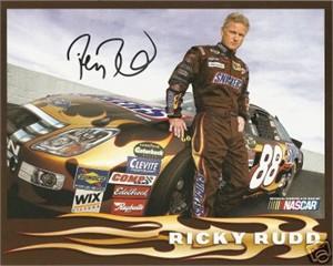 Ricky Rudd autographed NASCAR 8x10 photo card