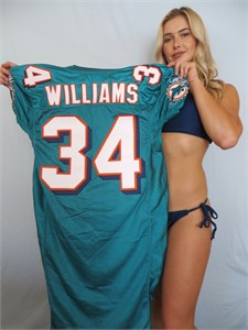 Ricky Williams 2008 Miami Dolphins team issued authentic Reebok aqua jersey