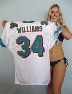 Ricky Williams Miami Dolphins authentic Reebok white triple stitched jersey NEW