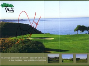 Rickie Fowler autographed Torrey Pines South golf scorecard