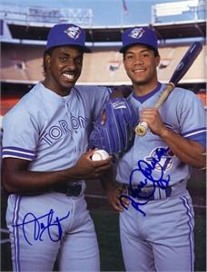 Roberto Alomar & Juan Guzman autographed Toronto Blue Jays Beckett Baseball back cover photo