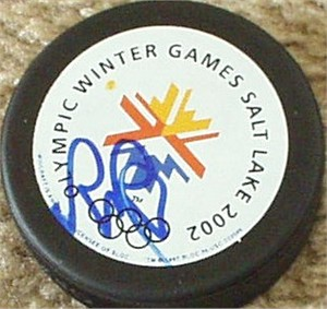 Rob Blake autographed 2002 Salt Lake City Olympics puck