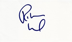 Robert Wuhl autographed index card