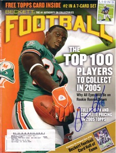 Ronnie Brown autographed Miami Dolphins 2005 Beckett Football cover