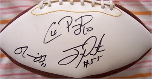 Ronnie Brown Chad Pennington Joey Porter (Dolphins) autographed football