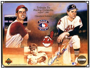 Rocky Colavito autographed Cleveland Indians 1992 Upper Deck card sheet