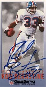 Rod Bernstine autographed Denver Broncos 1993 NFL GameDay card