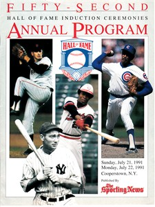 Rod Carew Fergie Jenkins Gaylord Perry 1991 Baseball Hall of Fame Induction program