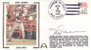 Rod Carew autographed Angels 3000 Hits Gateway cachet envelope