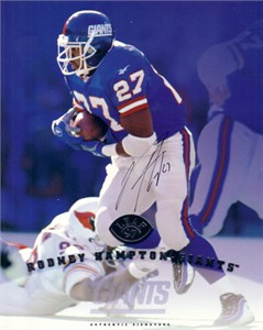 Rodney Hampton certified autograph New York Giants 1997 Leaf 8x10 photo card