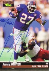 Rodney Hampton certified autograph New York Giants 1995 Pro Line card