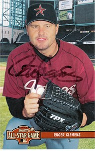 Roger Clemens autographed Houston Astros 4x6 photo card (JSA)