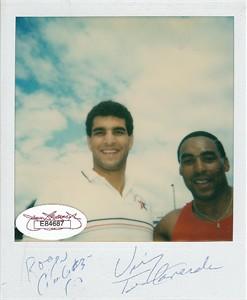 Roger Craig & Vinny Testaverde autographed Polaroid photo (JSA)