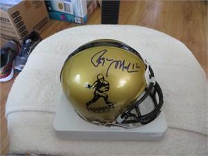 Roger Staubach autographed Heisman Trophy logo mini helmet