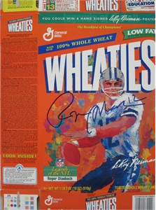 Roger Staubach autographed Dallas Cowboys LeRoy Neiman artwork Wheaties box