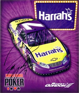 Robby Gordon autographed Harrah's NASCAR 8x10 photo card