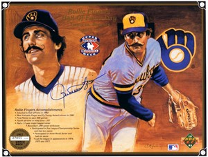 Rollie Fingers autographed Milwaukee Brewers 1992 Upper Deck card sheet