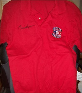 Rollie Fingers autographed Upper Deck Heroes of Baseball golf or polo shirt