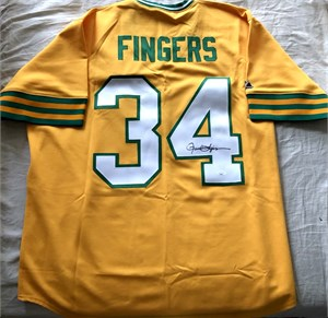 Rollie Fingers autographed Oakland Athletics 1973 authentic yellow alternate throwback jersey