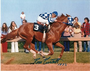 Ron Turcotte autographed Secretariat 8x10 photo dated 1973