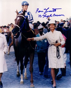 Ron Turcotte autographed Secretariat 8x10 photo with Penny Tweedy inscribed 73 Triple Crown