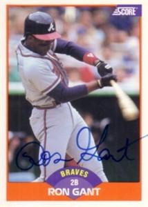 Ron Gant autographed Atlanta Braves 1989 Score card