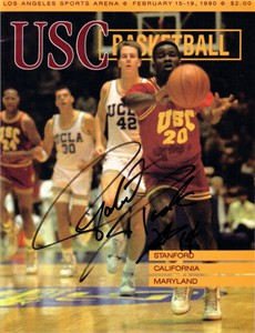 Robert Pack autographed USC Trojans 1990 basketball program