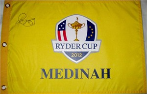Rory McIlroy autographed 2012 Ryder Cup Medinah golf pin flag