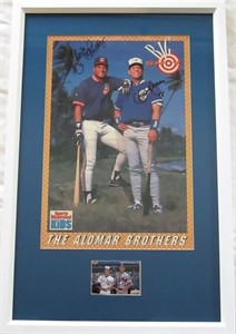 Roberto Alomar & Sandy Alomar Jr. autographed poster & card matted & framed
