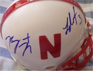 Roy Helu Jr. & Taylor Martinez autographed Nebraska Cornhuskers mini helmet