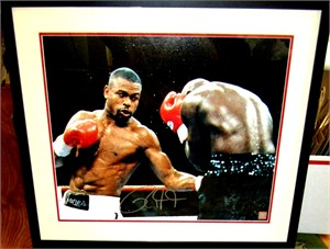 Roy Jones Jr. autographed 16x20 poster size boxing photo matted & framed (Superstar Greetings)