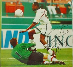 Roy Lassiter autographed U.S. Soccer calendar page