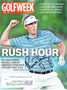 Russell Henley autographed 2014 Golfweek magazine