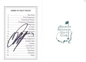 Ryo Ishikawa autographed Augusta National Masters scorecard