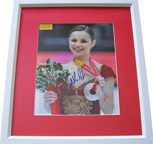 Sasha Cohen autographed 2006 Olympic ice skating magazine photo matted & framed